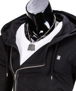 Vyriškas džemperis vyrams juodos spalvos su uztrauktuku ir kapisonu.