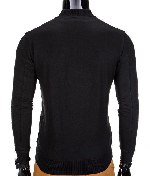 Vyriškas džemperis vyrams juodos spalvos su uztrauktuku ir kisenemis.