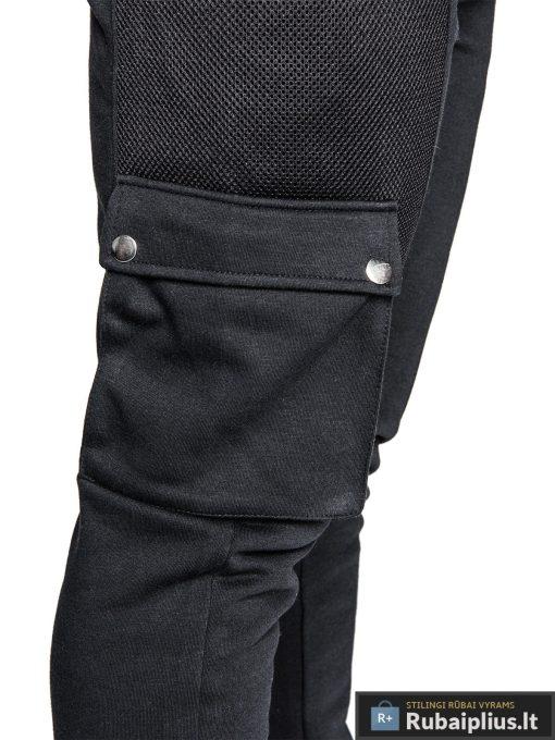 Vyriškos sportinės kelnės juodos spalvos su uztrauktukais ir kisenemis.