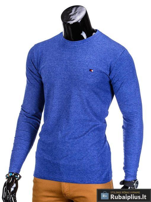 Vyriški marškinėliai vyrams mėlynos spalvos ilgomis rankovėmis.