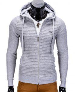 Vyriškas džemperis vyrams pilkos spalvos su gobtuvu.