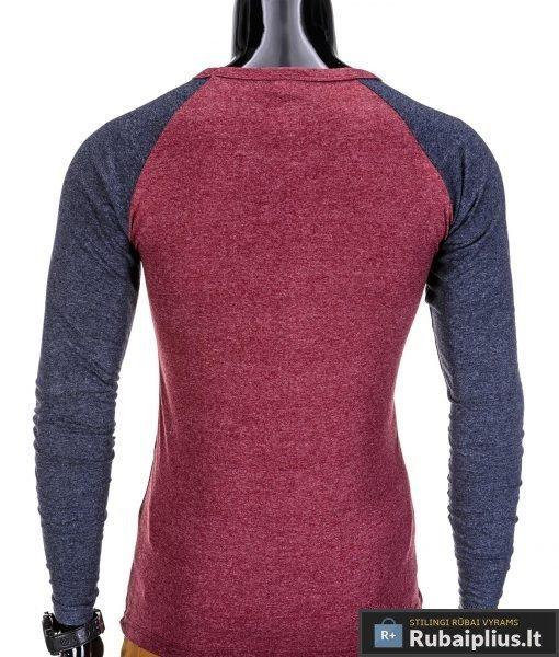 Vyriški marškinėliai vyrams raudonos spalvos ilgomis rankovėmis su kisene.