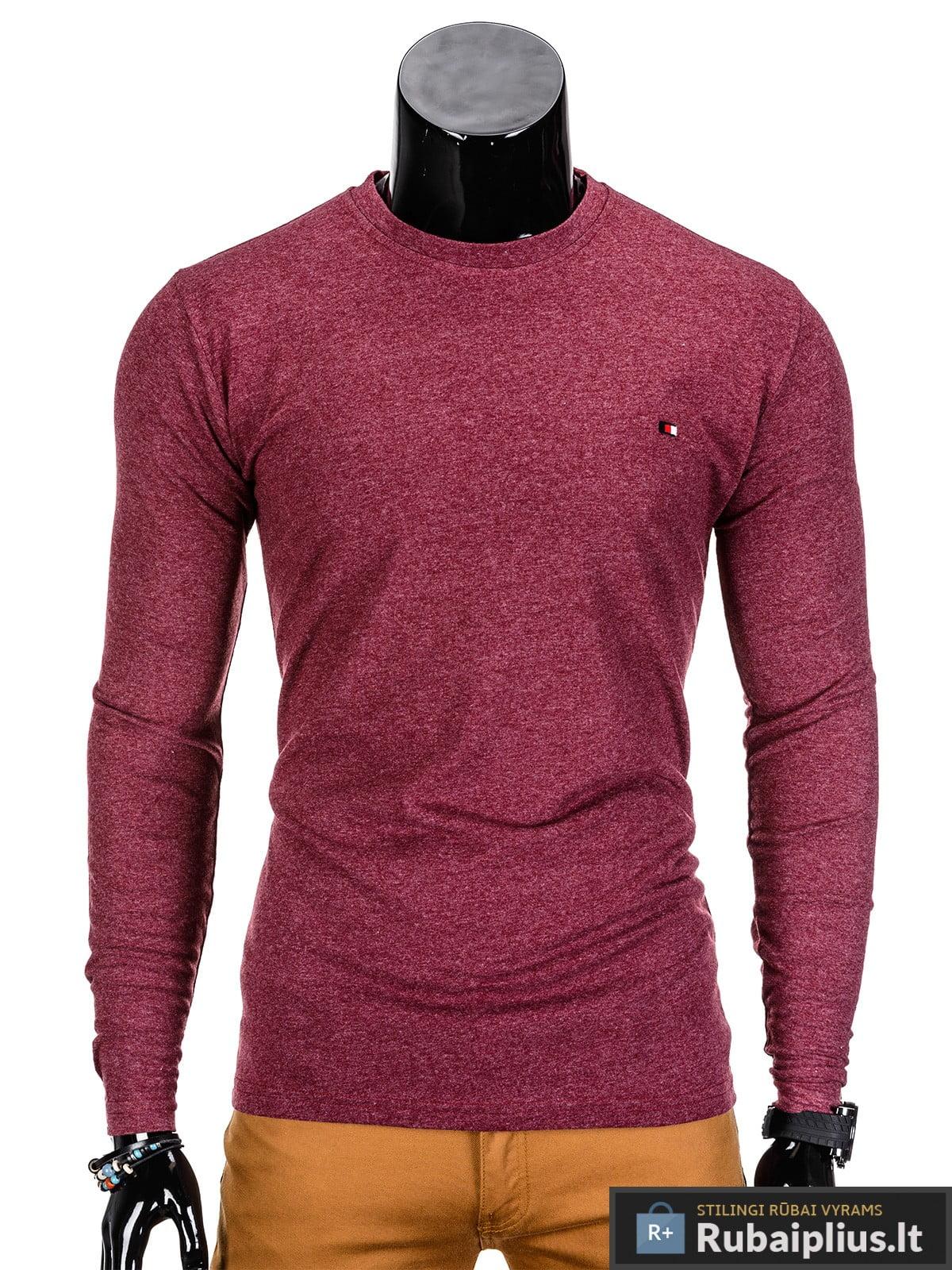 Vyriški marškinėliai raudonos spalvos ilgomis rankovėmis.