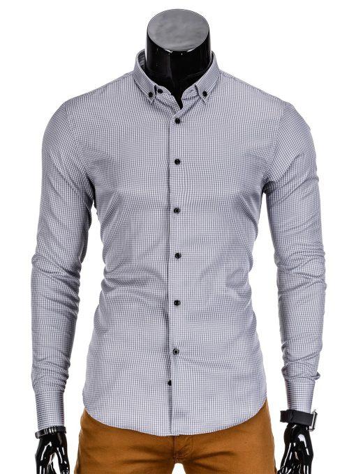 Vyriški marškiniai vyrams stilingi pilkos spalvos, smulkiais langeliais.