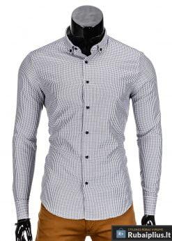 Stilingi vyriski marškiniai vyrams pilkos spalvos smulkiais langeliais.