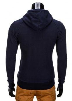 Vyriškas džemperis vyrams tamsiai mėlynos spalvos su gobtuvu.