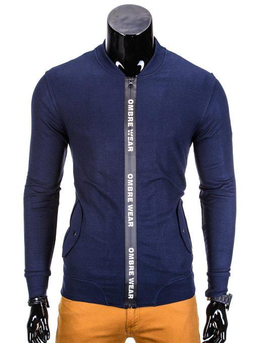 Vyriškas džemperis vyrams tamsiai mėlynos spalvos su uztrauktuku ir kisenemis.