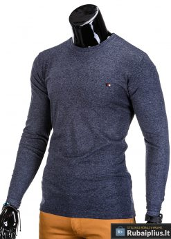 Vyriški marškinėliai tamsiai mėlynos spalvos ilgomis rankovėmis.