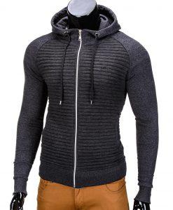Vyriškas džemperis vyrams tamsiai pilkos spalvos su gobtuvu.