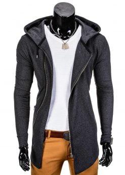 Vyriškas džemperis vyrams tamsiai pilkos spalvos su uztrauktuku ir gobtuvu.