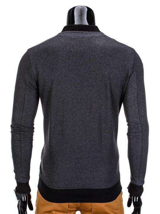 Vyriškas džemperis vyrams tamsiai pilkos spalvos su uztrauktuku ir kisenemis.