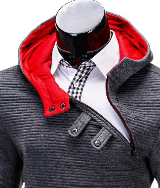 Vyriškas džemperis vyrams tamsiai pilkos spalvos su istrizu uztrauktuku ir gobtuvu.