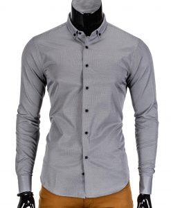 Vyriški marškiniai vyrams tamsiai pilkos spalvos elegantiski.