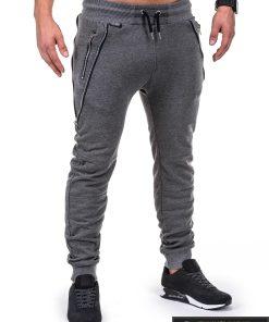 Vyriskos tamsiai pilkos sportinės kelnės vyrams su uztrauktukais ir kisenemis internetu pigiau P421TP dešinė