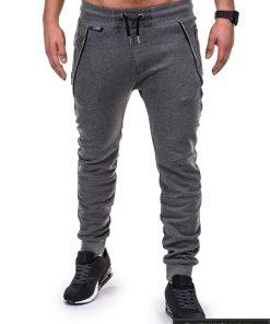 Vyriskos tamsiai pilkos sportinės kelnės vyrams su uztrauktukais ir kisenemis internetu pigiau P421TP priekis