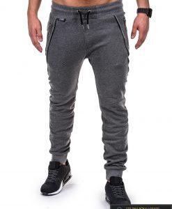 Vyriškos sportinės kelnės tamsiai pilkos spalvos su uztrauktukais ir kisenemis.
