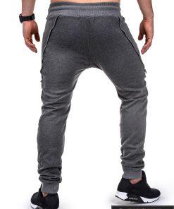 Vyriskos tamsiai pilkos sportinės kelnės vyrams su uztrauktukais ir kisenemis internetu pigiau P421TP nugara