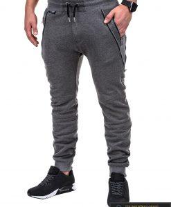 Vyriskos tamsiai pilkos sportinės kelnės vyrams su uztrauktukais ir kisenemis internetu pigiau P421TP kairė