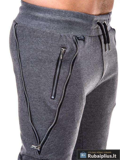 Vyriskos tamsiai pilkos sportinės kelnės vyrams su uztrauktukais ir kisenemis internetu pigiau P421TP kišenė