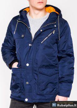 Mėlynos spalvos vyriška striukė parka vyrams internetu pigiau C302TM priekis