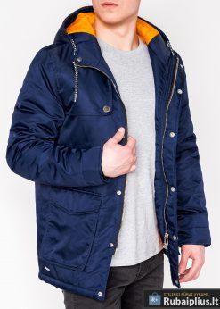 Mėlynos spalvos vyriška striukė parka vyrams internetu pigiau C302TM prasegta