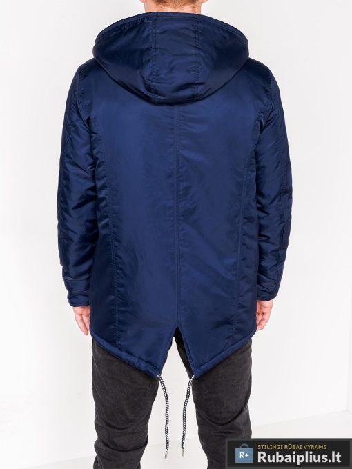 Mėlynos spalvos vyriška striukė parka vyrams internetu pigiau C302TM nugara