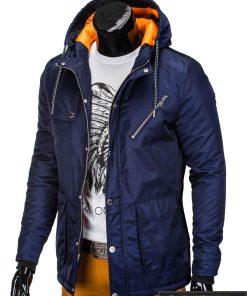 Mėlynos spalvos vyriška striukė parka vyrams internetu pigiau C302TM kairė manekenas