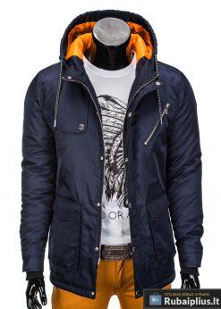 Tamsiai mėlyna vyriška striukė parka vyrams internetu pigiau C302TTM prasegta manekenas
