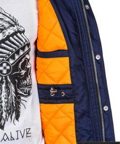 Mėlynos spalvos vyriška striukė parka vyrams internetu pigiau C302TM vidus manekenas