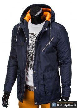 Tamsiai mėlyna vyriška striukė parka vyrams internetu pigiau C302TTM kaire manekenas