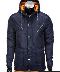 Tamsiai mėlyna vyriška striukė parka vyrams internetu pigiau C302TTM užsegta manekenas