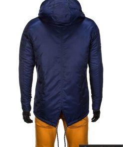 Mėlynos spalvos vyriška striukė parka vyrams internetu pigiau C302TM nugara manekenas