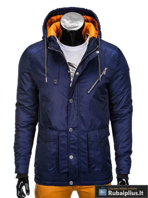 Mėlynos spalvos vyriška striukė parka vyrams internetu pigiau C302TM priekis manekenas