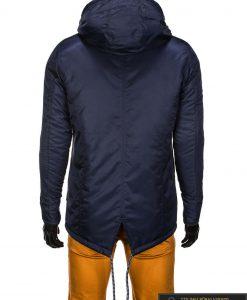 Tamsiai mėlyna vyriška striukė parka vyrams internetu pigiau C302TTM nugara manekenas