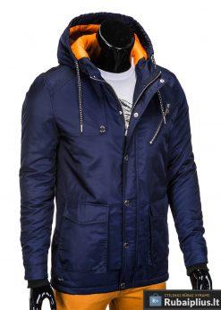 Mėlynos spalvos vyriška striukė parka vyrams internetu pigiau C302TM dešinė manekenas