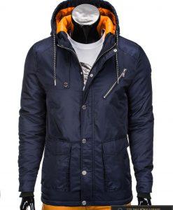 Tamsiai mėlyna vyriška striukė parka vyrams internetu pigiau C302TTM priekis manekenas