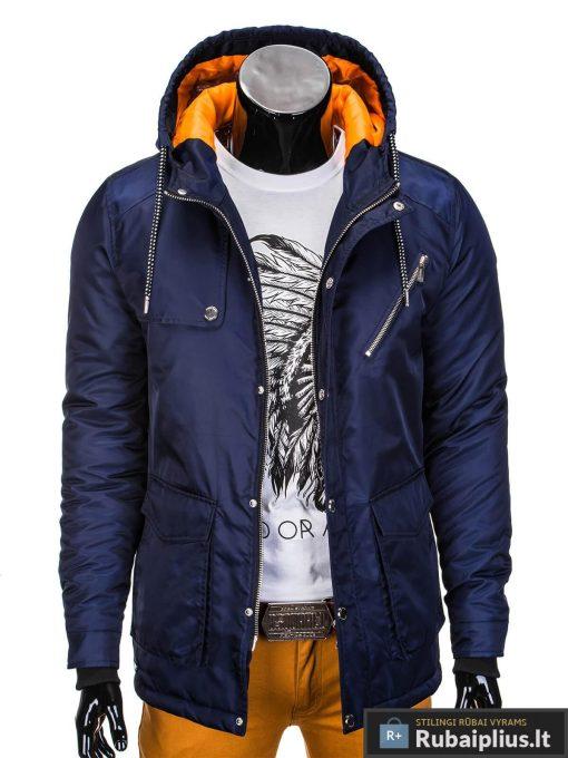 Mėlynos spalvos vyriška striukė parka vyrams internetu pigiau C302TM prasegta manekenas