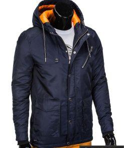 Tamsiai mėlyna vyriška striukė parka vyrams internetu pigiau C302TTM dešinė manekenas