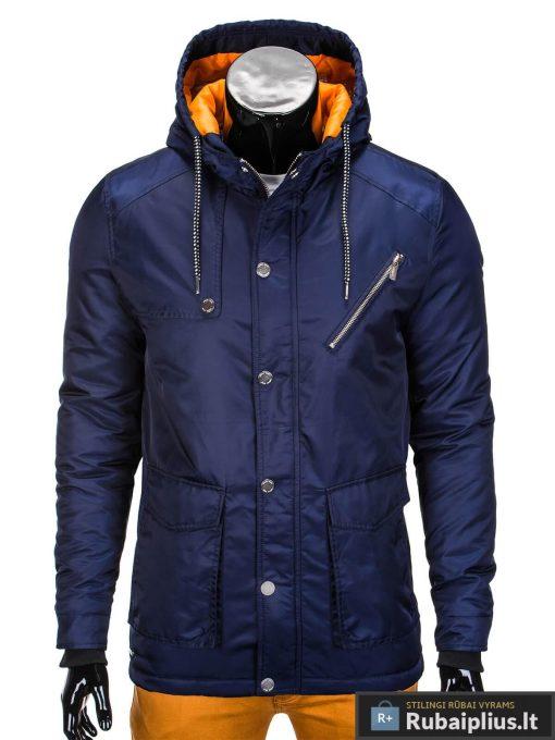 Mėlynos spalvos vyriška striukė parka vyrams internetu pigiau C302TM užsegta manekenas