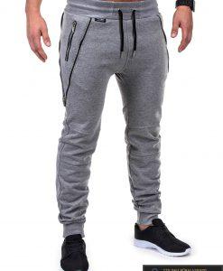 Vyriskos pilkos sportinės kelnės vyrams su uztrauktukais ir kisenemis internetu pigiau P421P dešinė
