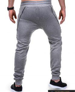 Vyriskos pilkos sportinės kelnės vyrams su uztrauktukais ir kisenemis internetu pigiau P421P nugara