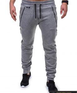Vyriskos pilkos sportinės kelnės vyrams su uztrauktukais ir kisenemis internetu pigiau P421P priekis