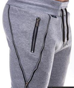 Vyriskos pilkos sportinės kelnės vyrams su uztrauktukais ir kisenemis internetu pigiau P421P kišėnė