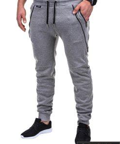 Vyriskos pilkos sportinės kelnės vyrams su uztrauktukais ir kisenemis internetu pigiau P421P kairė