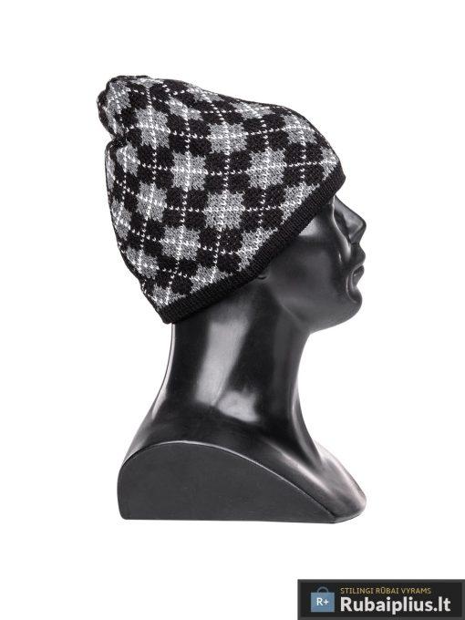 Juoda pilka raštuota vyriška kepurė vyrams Lan A074-1