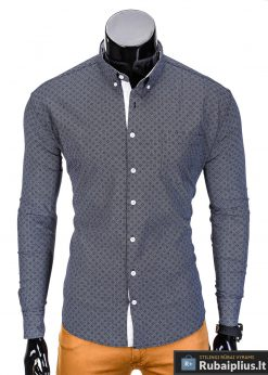 Tamsiai pilki vyriški marškiniai vyrams internetu pigiau Arno K388-2