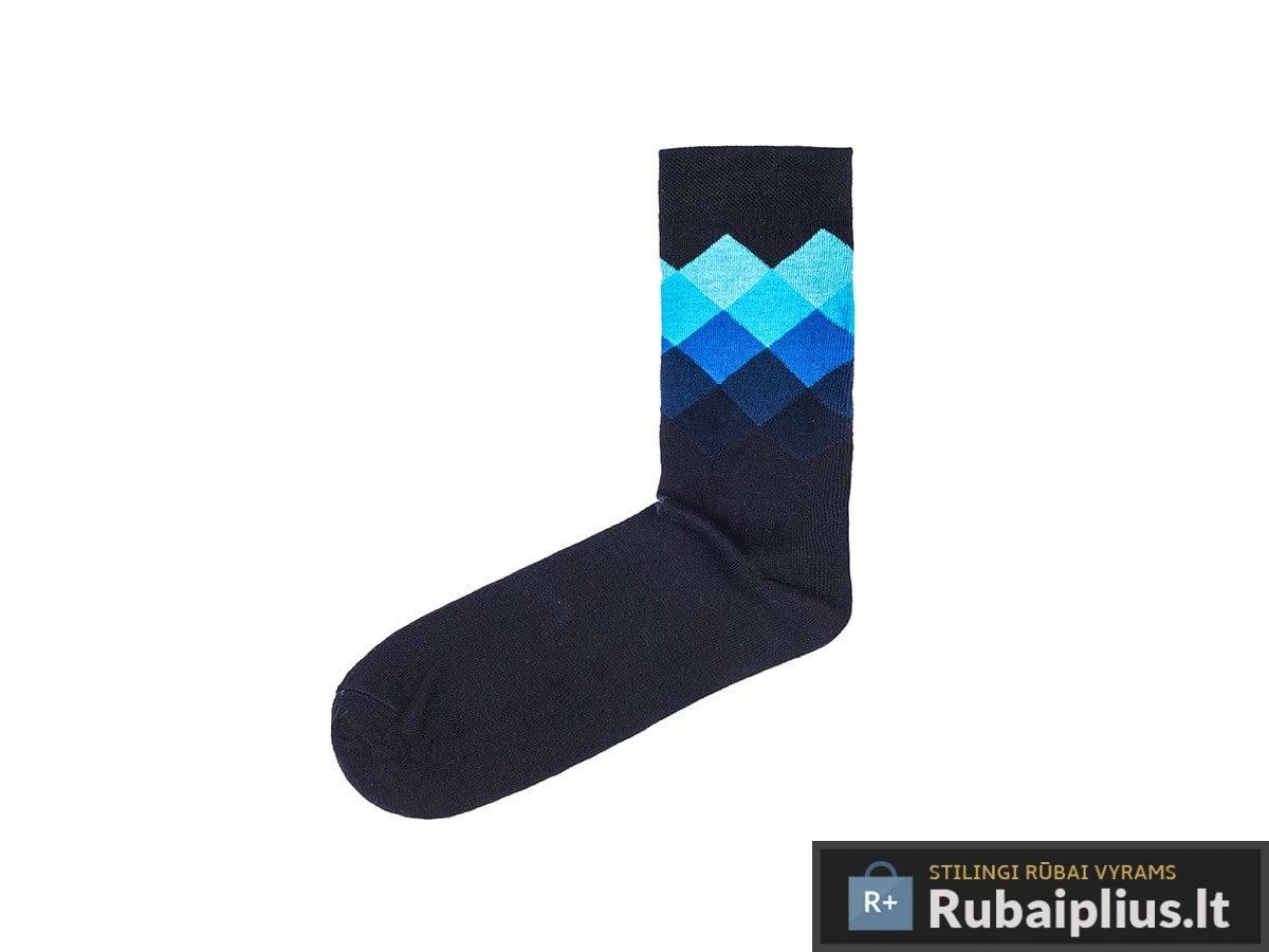 juodos spalvos kojinės vyrams mėlynu madingu raštu rombais internetu pigiau