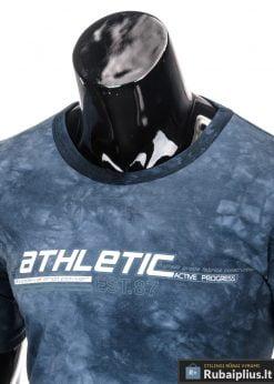 Mėlyni marškinėliai vyrams trumpomis rankovėmis internetu pigiau