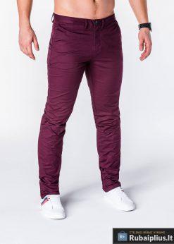 Klasikinio stiliaus bordo spalvos vyriškos kelnės