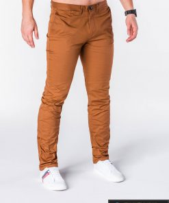 Klasikinio stiliaus rudos spalvos vyriškos kelnės vyrams